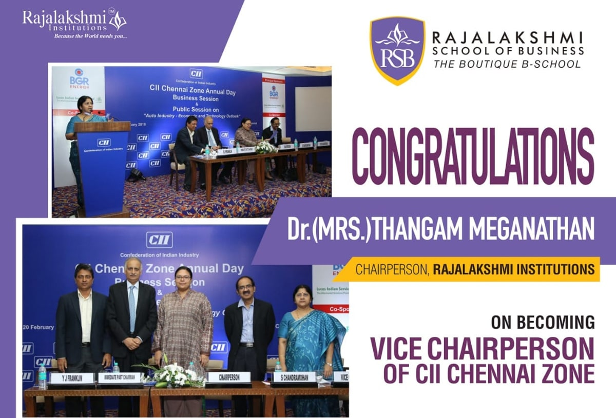 Congratulations to Dr.(Mrs.) Thangam Meganathan,Chairperson, Rajalakshmi Institutions on becoming Vice Chairperson of CII chennai zone.