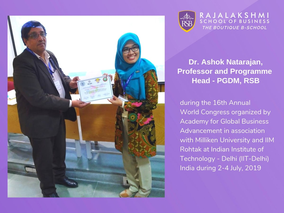 Faculty Paper Presentation - Professor, and Program Head-PGDM, Dr. Ashok Natarajan